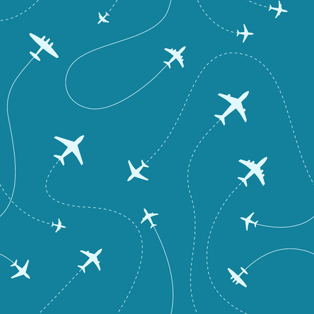 Different airplanes paths vector illustration. Seamless pattern Фото со стока - 101979956