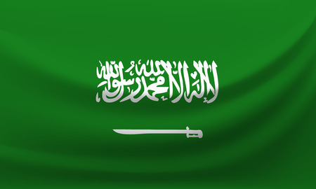Waving national flag of Saudi Arabia. Vector illustration  Vectores