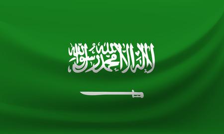 Waving national flag of Saudi Arabia. Vector illustration