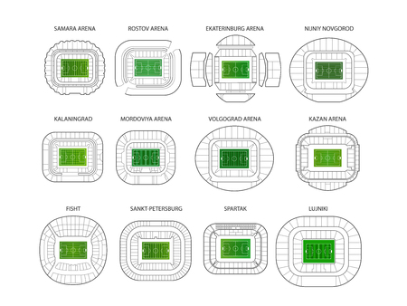World championship stadiums vector set. Top view