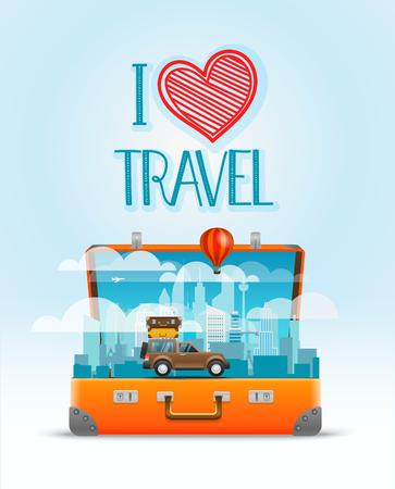 Travel bag vector illustration. I love travel Иллюстрация