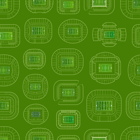 World championship stadiums vector background. Vector seamless pattern