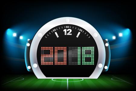 Digital scoreboard with stadium background. 2018. Vector illustration