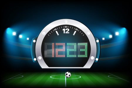 Digital scoreboard with stadium background. Vector illustration