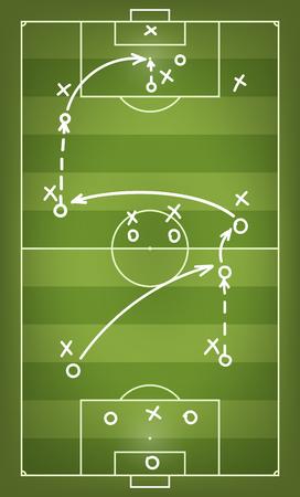 Football match strategy scheme. Vector illustration Illustration