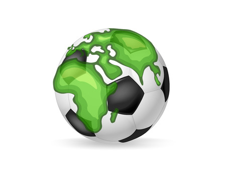 World soccer concept. Classic soccer ball with continents of the Earth
