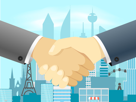 Handshake vector concept with cityscape