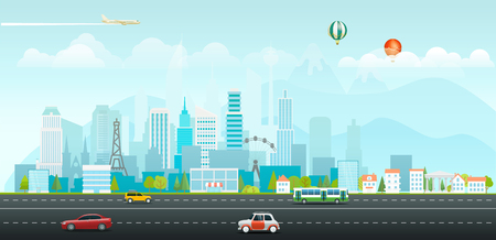 Landscape with buildings and vehicles. Morning city life Stock Illustratie