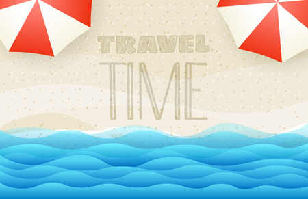 Sandy beach top view vector illustration. Travel time concept Vettoriali