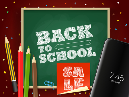 Back to school vector illustration. Season sale concept Illustration