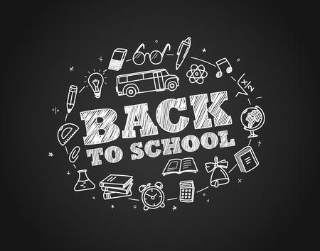 Back to school concept. Hand drawn elements. Chalk on schooldesk
