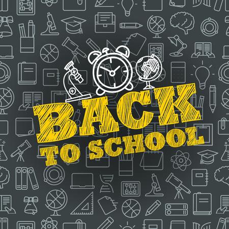 Volver al concepto de escuela. Banner de vector de letras