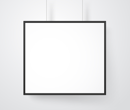 Blank white frame on the wall vector mockup. Ready for a content