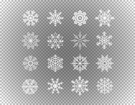 Different snowflakes isolated on transparent background. Layered and detailed illustration