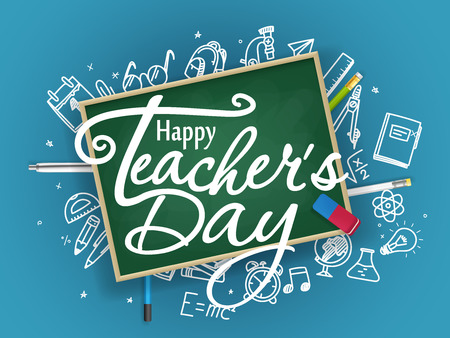 School chalkboard with different stuff. Happy teachers day greeting card