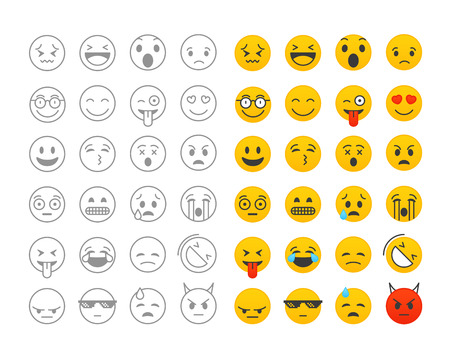 Different color emoji collection isolated on white. Vector clip-art