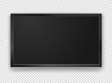 Cadre de télévision noir moderne avec maquette de vecteur écran blanc. 1920 sur écran de proportion 1080 HD. Objet vectoriel isolé sur fond transparent
