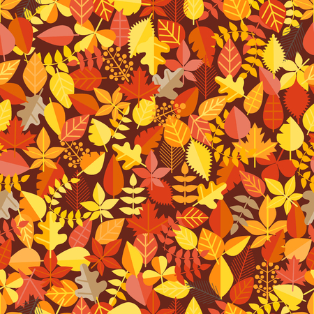 Fall leaves seamless background. Vector illustration