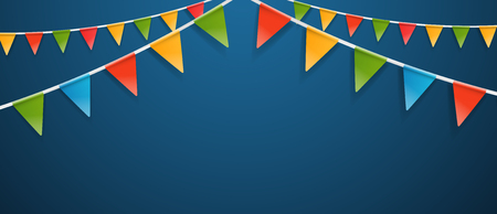 Color triangle flags garlands on dark background.