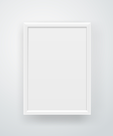 Empty square white frame on a wall. Illustration