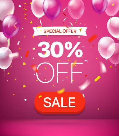 Special offer concept. 30 percent off. Vector illustration