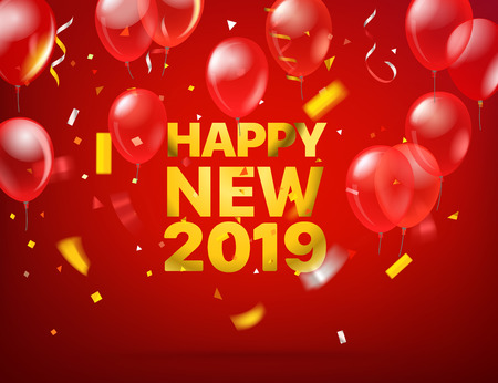 Happy new 2019. Vector greeting card 免版税图像 - 112223456
