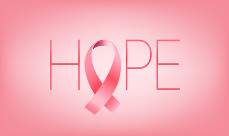Pink ribbon with hope. Cancer awareness concept Ilustração