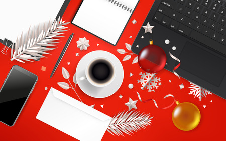 Office objects with Christmas accessory. Different business stuff on red table Ilustração