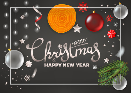 Merry Christmas and Happy New Year greetings. Vector greeting card Illustration