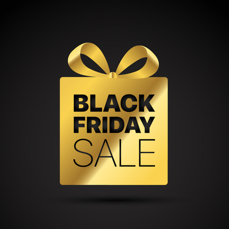 Black friday golden shopping tag. Vector label Illustration