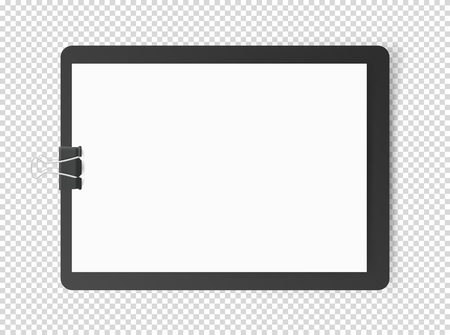 White blank page on tablet. Vector object isolated on transparent Çizim