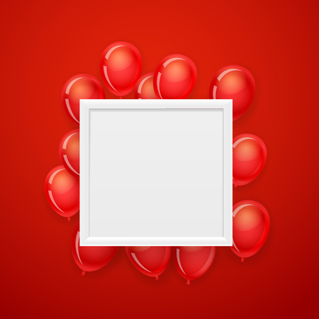 Empty white frame on a wall with flying red balloons. Vector illustration
