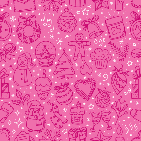 Christmas doodle seamless pattern. Vector illustration Illustration