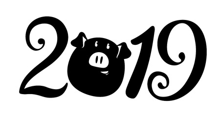 2019 New year inscription. Vector illustration. Pig is a mascote of the year Ilustração