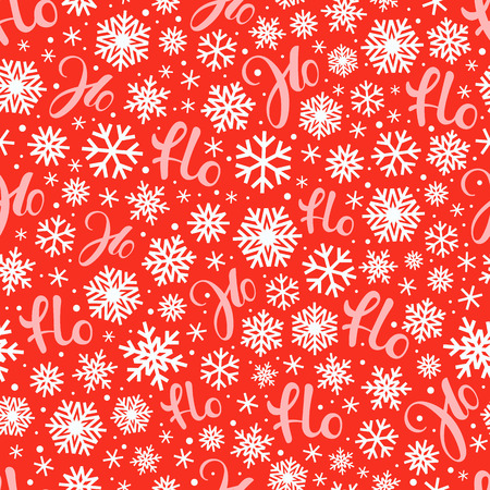Santa says Hohoho. Red vector pattern seamless texture for Christmas packaging Çizim