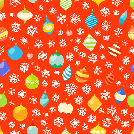 Seamless pattern with different christmas baubles and snowflakes. Christmas wrapping pattern Vector Illustration