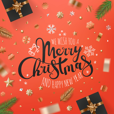 Holiday greeting card. Banner with different holiday accessories. Merry Christmas and Happy new year calligraphic Ilustração