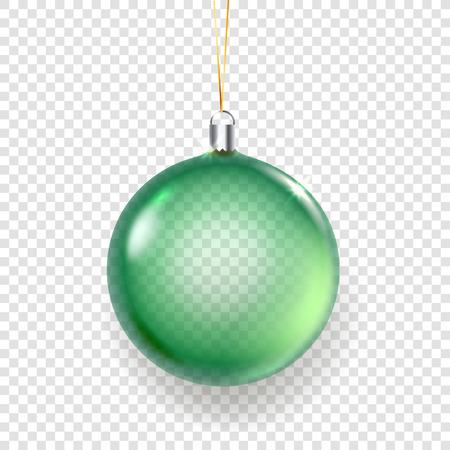 Shining glass green christmas bauble vector illustration isolated on transparent background