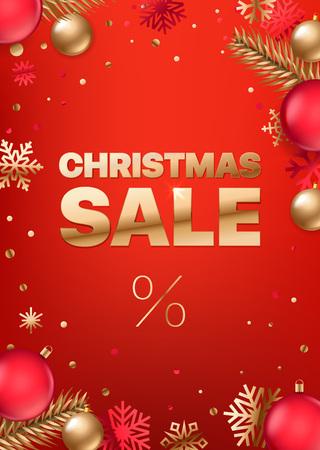 Christmas sale inscription. Golden text on red background. banner, poster, golden  color on red background. Shopping banner. Luxury elegant text font.  Vertical vector illustration Ilustração