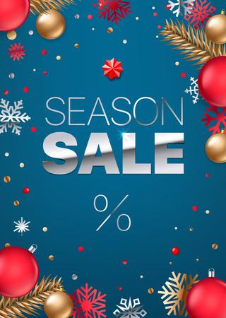 Season sale inscription. Silver text on blue background. Shopping banner. Luxury elegant text font. Vertical vector illustration