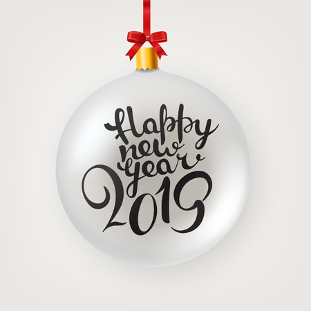 Happy new 2019 year lettering vector illustration with bauble. Happy New Year card design.  Vector illustration eps file Çizim
