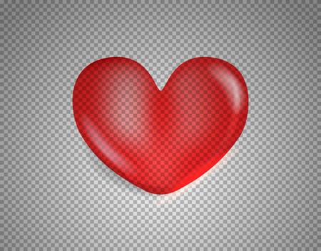 Shiny heart isolated on transparent background. Layered illustration