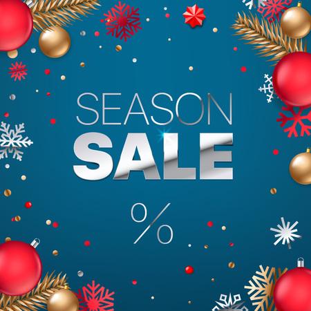 Season sale inscription. Silver text on blue background. Shopping banner.  Luxury elegant text font. Square vector illustration