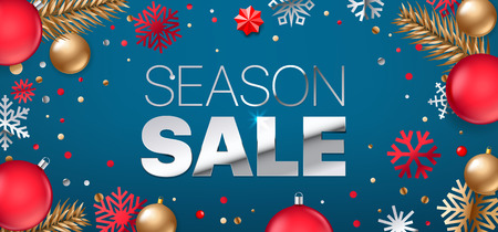 Season sale inscription. Silver text on blue background. Shopping banner. Luxury elegant text font. Horizontal vector illustration