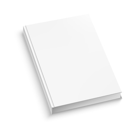 White closed book on white table