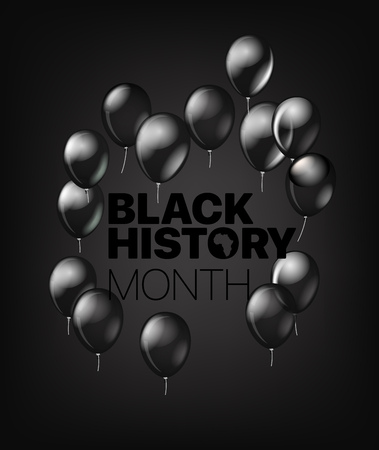 Black History Month greeting card with black balloons. Vector illustration Illustration