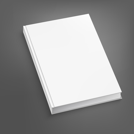 White open book on grey table. Vector illustration