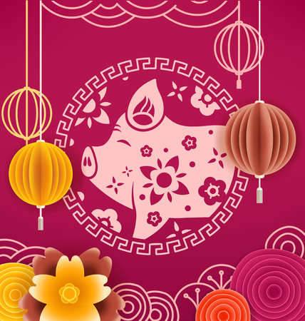 The year of the pig banner. Chinese style vector elements