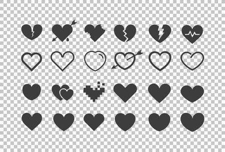 Different hearts isolated on transparent. Vector cliipart
