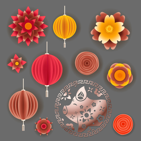 The year of the pig elements. Chinese style vector elements